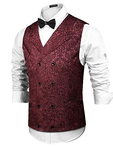 COOFANDY Mens Victorian Vest Steampunk Double Breasted Suit Vest Slim Fit Brocade Paisley Floral Waistcoat Wine Red from COOFANDY