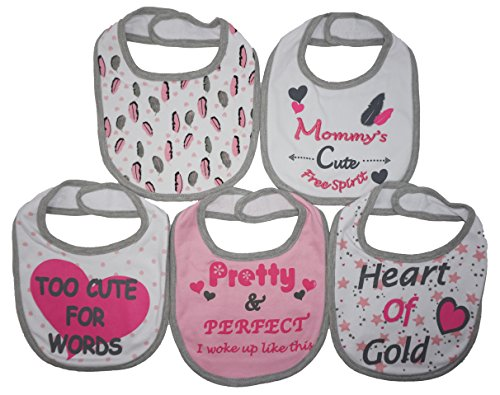 Mommy's Cute Free Spirit | 5 Pack Funny Baby Bibs | Funny Baby Girl Feeder Bibs | Pretty & Perfect