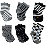 6 Pairs Assorted Anti Slip Ankle Cotton Socks with Grip...