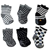 Cheap 6 Pairs Assorted Anti Slip Ankle Cotton Socks with Grip Baby Toddler Non-skid Cotton Stretch Knit Stripes Star Non Slip Socks Slippers for 12-36 Months Boys Girls Infant Kids