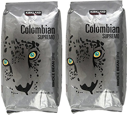 Kirkland Signature Colombian Supremo Whole Bean Coffee, 3 Pound (2 Pack) (Best Colombian Coffee Beans)