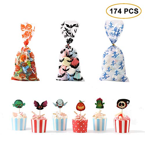Homemade Halloween Decorations For Home (SUYEPER Halloween Cellophane Candy Bags and Cupcake Topper, Clear Candy Cookie Treat Bags with Twist Ties Halloween Cupcake Topper for Halloween Party Favors Homemade Craft (174)