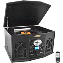 Pyle Vintage Turntable - Retro Vinyl Stereo System With Bluetooth, Cassette and CD Player, USB Reader, SD Card and Speakers - Audio Files to MP3 with Remote and LCD (PTCDS7UIB)