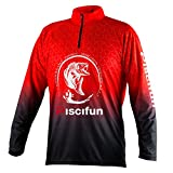 Piscifun Performance UPF Long Sleeve Fishing T-Shirt-Sun Protection Clothing Fishing Jersey L Red