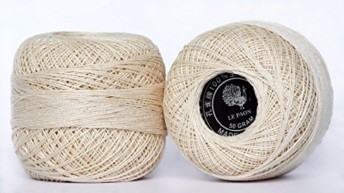 LE PAON Size 8 50g Pearl Cotton Crochet Thread Balls for Knitting Twine Ball Pearl Cotton Floss Balls Knitting Yarn Total 1000yards 2 Balls (Color No.:Ecru)