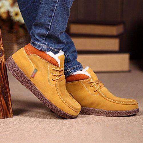 YiJee Damen Komfort Freitzeit Flache Schuhe Verdickung Warm Schneestiefel Gelb