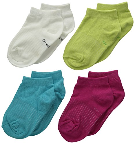 PEDS Little Girls' Growing Jersey Low Cut Socks Assorted Small Medium 4 Pairs, Assorted, Shoe Size (4-13)