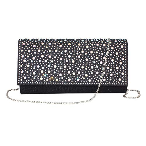Women Rhinestone Clutch Purse Handbag Crystal Evening Bag Wedding Party Prom Purse. (Black-1)