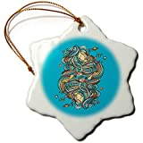 3dRose Ninhol – Science - Girls Playing with Planets - 3 inch Snowflake Porcelain Ornament (ORN_291332_1)