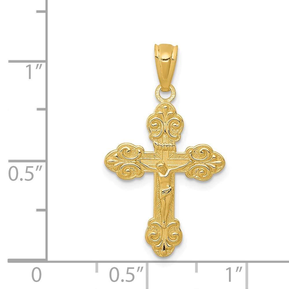 14K Yellow Gold Polished Inri Small Crucifix Pendant