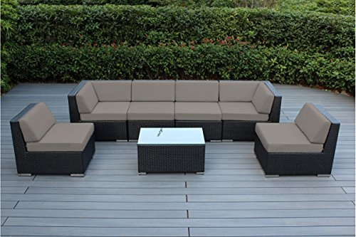 Ohana 7-Piece Outdoor Patio Furniture Sectional Conversation Set, Black Wicker with Sunbrella Taupe Cushions - No Assembly with Free Patio Cover (Fire Stewart Furniture With Pit Martha Patio)