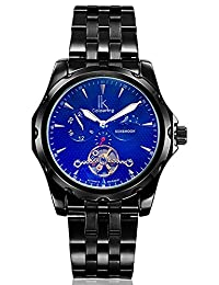 Fanmis Black Automatic Mechanical Men's Stainless steel Luminous Watches Moon Phase Coated Glass