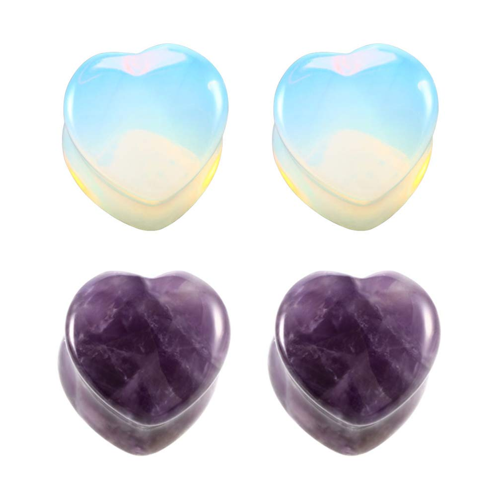 2 Pairs Love Heart Shaped Amethyst Purple & Clear Opalite Moonstone Natural Stone Double Flared Ear Tunnels Plugs Stretcher Expander Kit Gauge HQLA