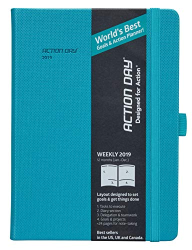 Clearance Sale - Action Day Planner 2019 - #1 Time Management Journal & You Get Things Done - All Your Thoughts, Goals & Actions in One Place (6x8,Thread-Bound,Turqoise)