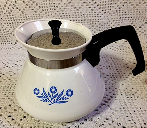 Corning Blue Cornflower 6 cup Teapot Tea Pot w/ Metal Lid -- as shown
