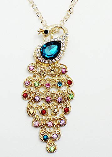 Colorful Peacock (Gold Tone Long Necklace Pendant with Elegant Vintage Colorful Peacock with Diamond Like Crystals. Chain 72cm, Peacock 10cm X 4cm. (Gold Green))