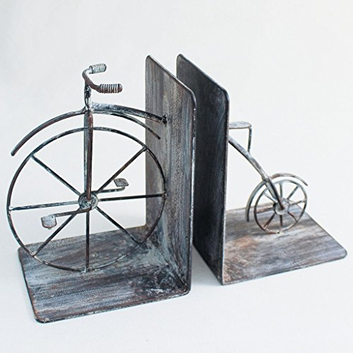 (Time Concept Handmade Iron Bookend Pair - Antique Bicycle - Decorative Book Support, Home/Office Multipurpose Organizer, Movies/DVDs/Magazines/Video Games)