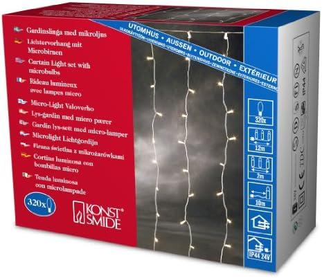 Konstsmide 3704-003 Microlight Eisregen Lichtervorhang / für Außen (IP44) /  24V Außentrafo / 160 klare Birnen / transparentes Kabel