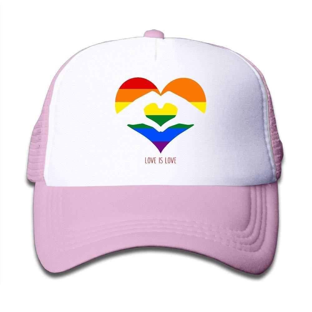 Kids Boys Girls Love is Love LGBT Rainbow Heart Youth Mesh Baseball Cap Summer Adjustable Trucker Hat