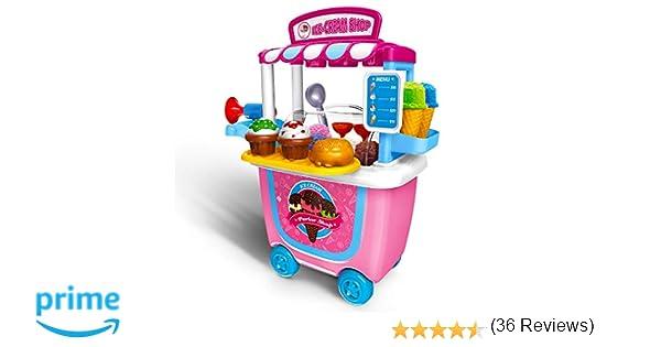 Niños Juguetes Niñas Pretender juguete 2+ 3+ años, GizmoVine 31pcs Simulación Helado de Coches Juguete Llevar Regalos de cumpleaños Caja de Juguete Kits ...