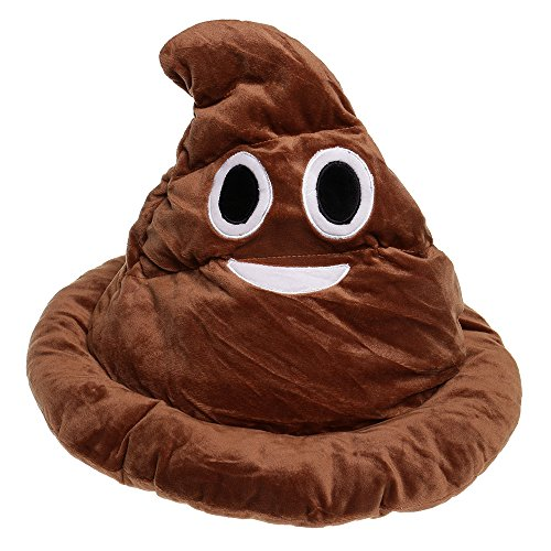 Poo Costumes (GIFTSHOP101 Emoji Poop Emoticon Soft Plush Hat Costume 13 inches)