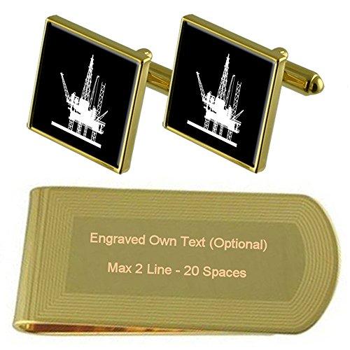 Oil Engraved tone Rig Gift Clip Cufflinks Set Platform Gold Money A0Awnqr