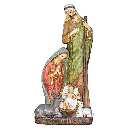 Holy Family with Animal Nativity 14 Inch Resin Tabletop Figurine