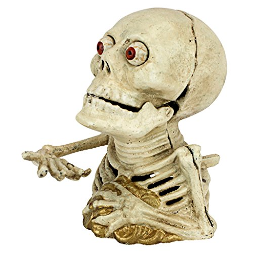 (Design Toscano Bugged-Out Hungry Skeleton Cast Iron Mechanical Coin Bank)