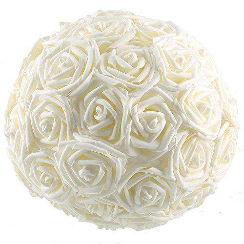 50pcs Foam Rose Flower Head Artificial Flowers Bouquet (Yellow) - 5