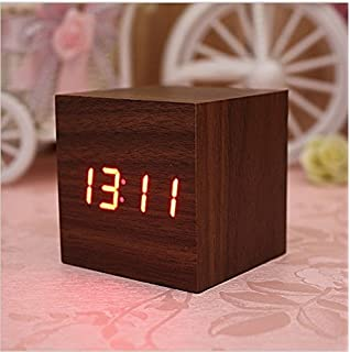 Lowpricenice Digital Square Cube Mini Brown Wood Red LED Light Alarm Clock with Time and Temperature