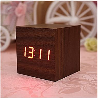 Digital Square Cube Mini Brown Wood Red LED Light Alarm Clock with Time and Temperature Display & Sound Control