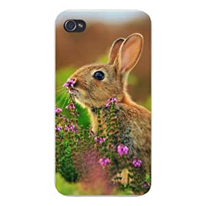 Apple Iphone Custom Case 5 5s Snap on - Cute Brown Bunny Rabbit Sniffing Flower