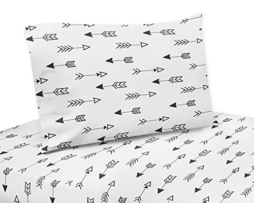 Arrow Print 3 Piece Twin Sheet Set for Black and White Fox B
