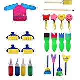 Paint Sponges for Kids,23 Pcs Mini Flower Sponge Paint Brushes Assorted Painting Drawing Tools Young Artist Texture Painting Set With Painting Apron Toddler Kids Early Learning
