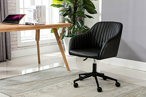 Porthos Home SKC046A BLK Madison Task Chair with Height Adjustable Feature, 360° Swivel, Steel Base with Roller Wheels and PU Leather Upholstery (for Home Studios and Offices), One Size Black