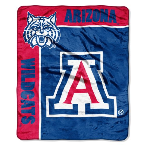 "Officially Licensed NCAA Arizona Wildcats School Spirit Plush Raschel Throw Blanket, 50"" x 60"""
