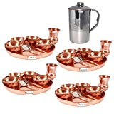 Prisha India Craft ® Set of 4 Dinnerware Traditional 100% Pure Copper Dinner Set of Thali Plate, Bowls, Glass and Spoon, Dia 12'' With 1 Embossed Stainless Steel Copper Pitcher Jug - Christmas Gift