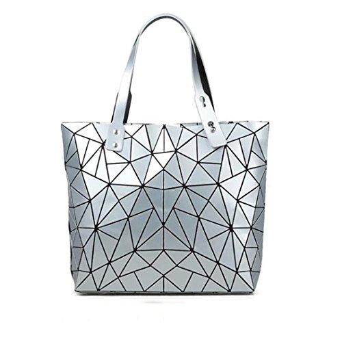 Mujer Material Gran De Silver Geométrica Capacidad Bao Black Bandolera Asas Bolso Grande HFnIwEEpf