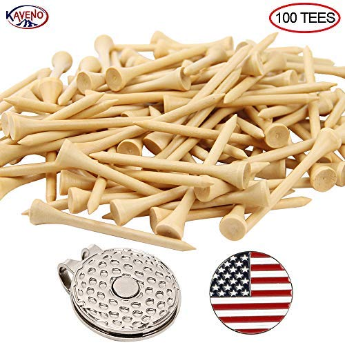 KAVENO Golf Tees,Natural Wood 2-3/4 Inch, Eco-Friendly, Pack of 100 with Magnetic Golf Hat Clip/Divot Tool Switchblade (Natural - 100PCS)
