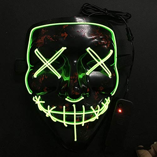 BCARE Halloween Mask Frightening LED Light up Purge Mask for Festival Cosplay and Parties (Green Stormtrooper Costume)