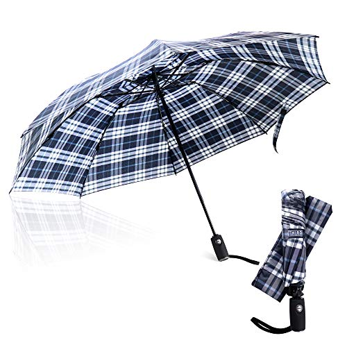 Third Floor Umbrellas - 46 Inch Automatic Open and Close Inverted Umbrella - Compact Reverse Umbrella Windproof - Big Lightweight Upside Down UV Travel Umbrella for Car - Closes Inside Out ...