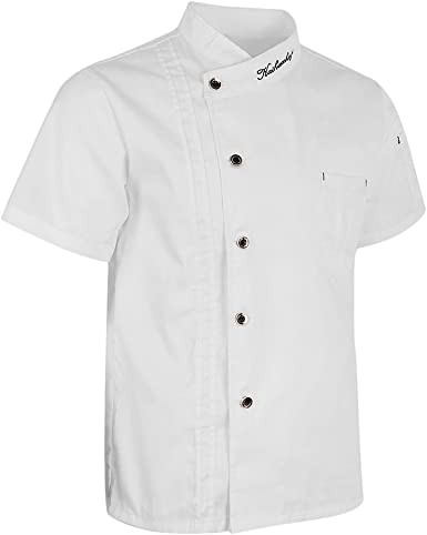 MagiDeal Chaquetas de Chef Unisex Capa Camisa Manga Corta ...