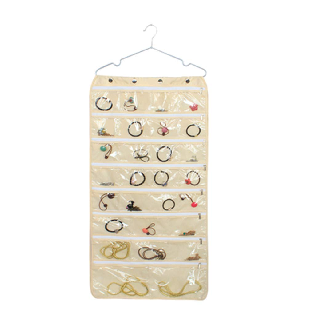 Hanging Jewelry Organizer Bag, Gunel Thick Oxford Fabric, Zippered Storage, Clear PVC Plastic Windows, Roll-Up, Portable Travel, Rings, Earrings, Necklaces (Beige) by Gunel home