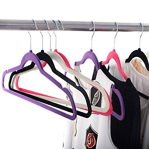 White, Black, Purple,Red 60PCS Non Slip Velvet Clothes Suit/Shirt/Pants Hangers