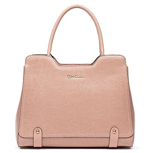 BOSTANTEN Women Leather Top-handle Handbags Designer Tote Purses Shoulder Bags Pink