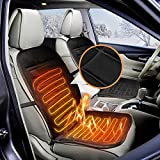 Audew 12V Car Heated Seat Cushion Winter Seat Heater Pad Cover Seat Warmer Black