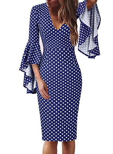 VFSHOW Womens Sexy V Neck Polka Dot Print Bell Sleeve Cocktail Sheath Dress 1592 BLU (Sexy Stretch Lace Dress)