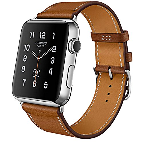 Apple Watch Band  42Mm  Business Series  Apple Watch Leather Band Cow Leather Replacement Band For 42Mm Apple Watch Sport Edition Series 1 And Series 2  Brown 42Mm