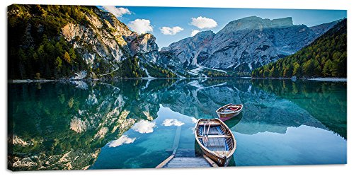 Wall Art Decor Canvas Print Picture Painting for Living Room Large Blue Green Landscape Nature Wildlife Lake River Home Bedroom Decoration Modern Framed Artwork 20x40in