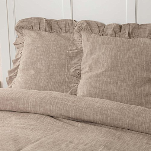 Piper Classics Ashley Taupe Ruffled Euro Sham, 26x26, Farmhouse Style Dark Beige Pillow Cover (Taupe Euro Sham)